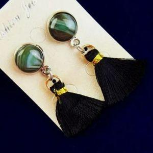 New Wrapped Green Onyx Agate Tassel Stud Earrings